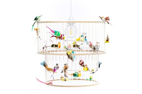 White Double birdcage light chandelier