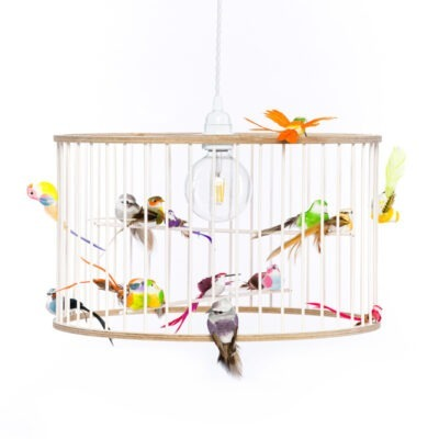 White Medium Birdcage Light Chandelier