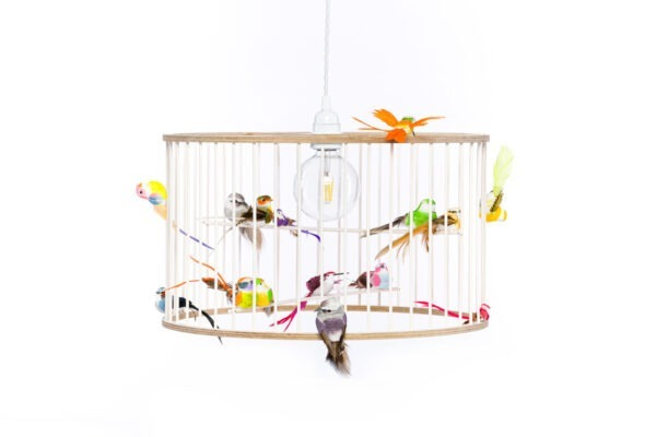 White Medium Birdcage Light Chandelier
