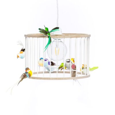small white birdcage light
