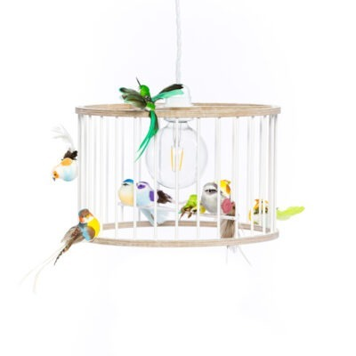 White Small Birdcage Light Chandelier