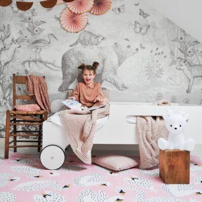 PINK SWAN GIRLS KID ROOM CARPET PLAY RUG MAT